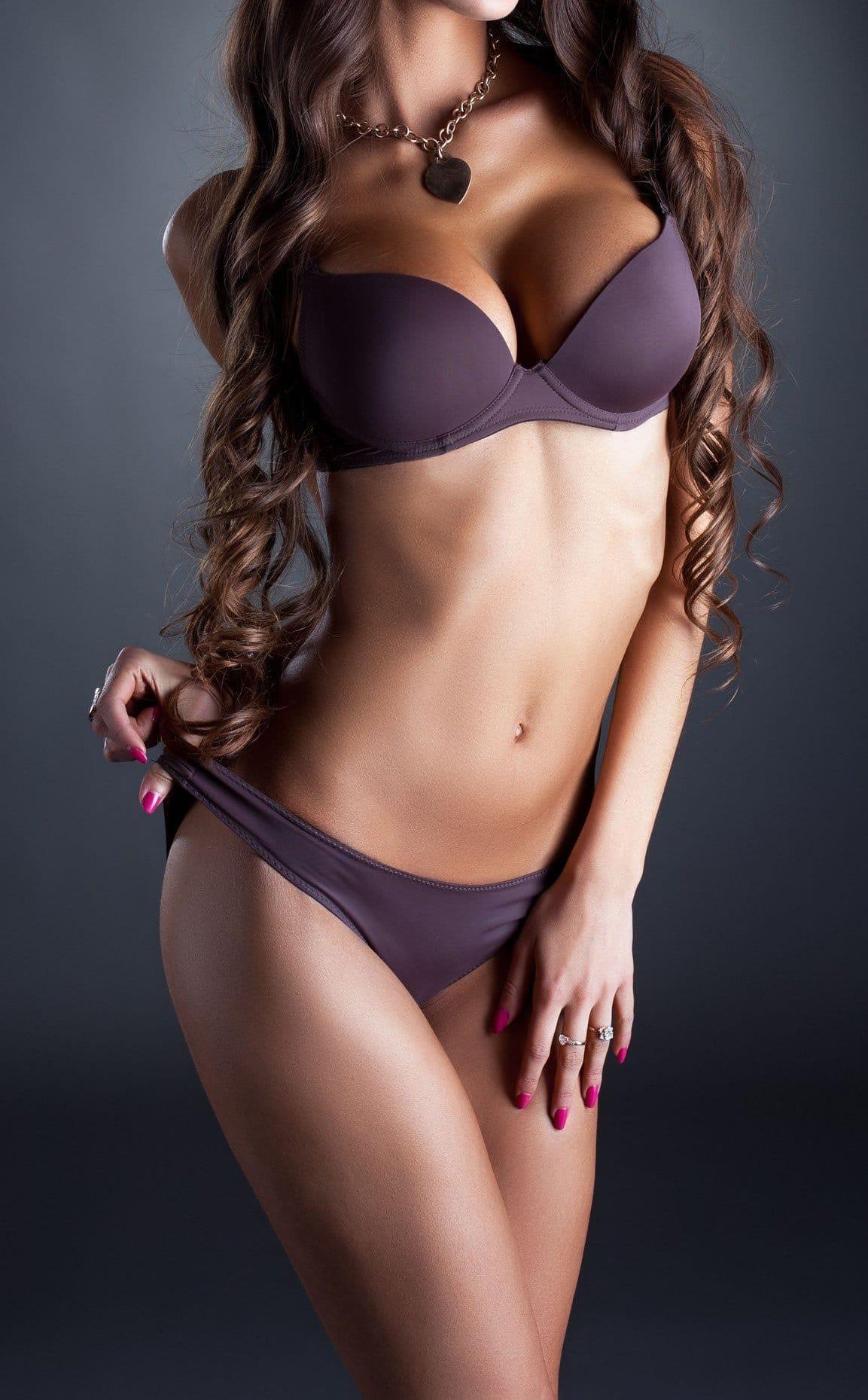 Tall beautiful woman body brown hair bikini gray background
