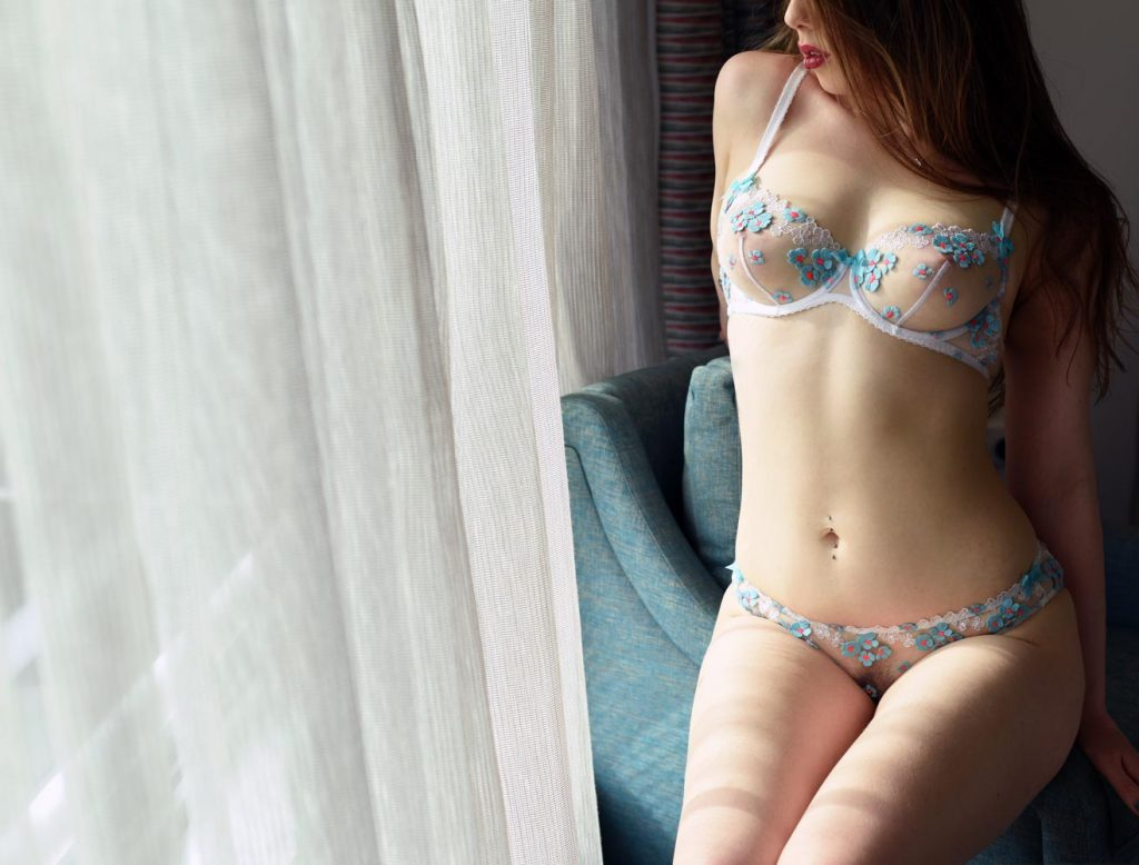Evie in Lingerie sexy posing by window